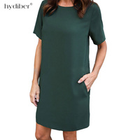 L 3XL Size Dresses Office Ladies Plus Size Casual Loose summer Dress Pockets Green Red Fashion Dress Vestidos Women Clothes 2018