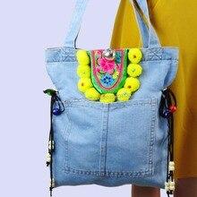 ФОТО hmong denim bohemian hobo tote bag casual tassel school bag shopping bag embroidery shoulder bag pom charm trim colorful 1007