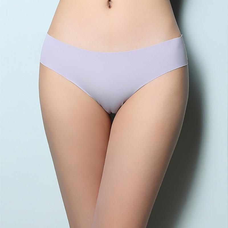Women Underwear Sexy Lingerie Low-Rise Briefs Ice Silk Seamless Wavy Edge Breathable Panties Women's Panties