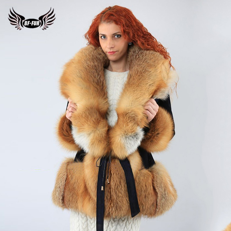 Real Rex Rabbit Fur Coats With Big Red Fox Fur Collar Womens Coats 2019 Winter Plus Size Whole Skin Fashion Slim Natural Fur