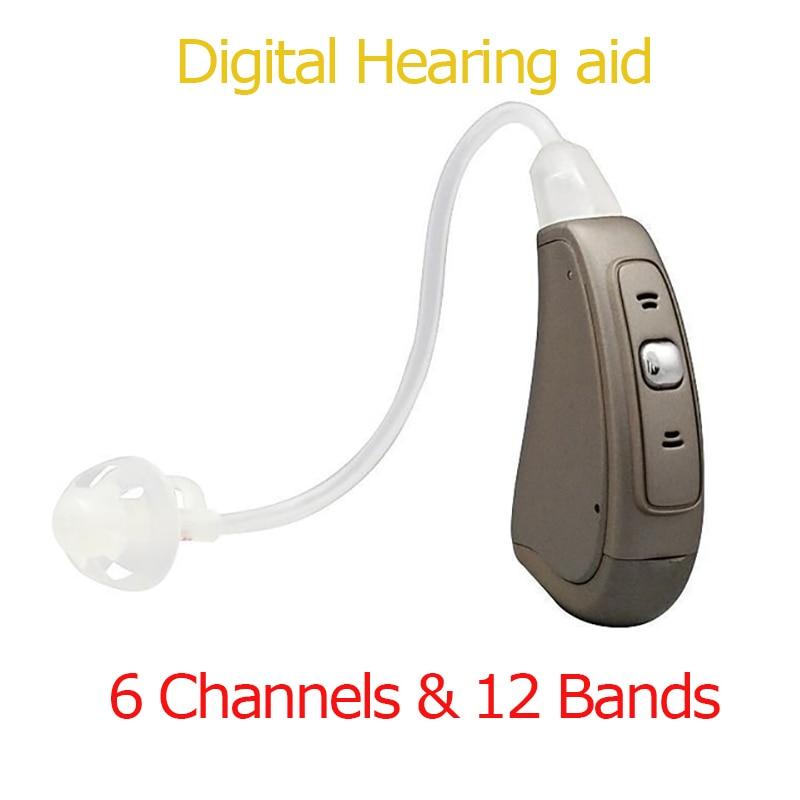 Цифровой 6 Каналы и 12 полос слуховой аппарат полностью ручной Управление БТЭ цифровой программы слуховые аппараты ep07sound Усилители домашние
