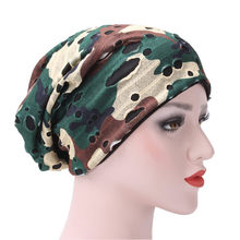 7dbf26f5cacf7 Camouflage and Small Floral Women India Hat Muslim Ruffle Cancer Chemo Hat  Beanie Scarf Turban Head Wrap Cap