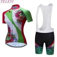 TELEYI Brand 100 Polyester Quick Dry Short Sleeves Breathable BIB Short MTB Bike Pro Team Ropa
