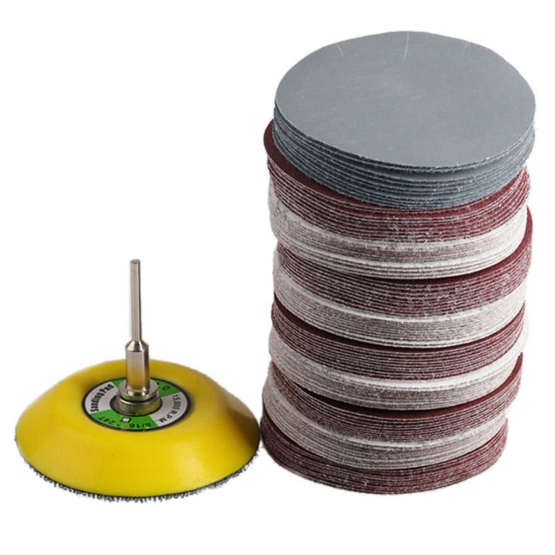 100Pcs 3inch 75mm Sanding Disc Round Abrasive Dry Sandpaper With 1Pcs Back-up Pad For Sanding Disc Polish Cleaner Tools