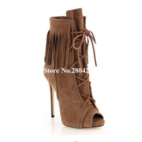 Hot Sale Spring Autumn Women Short Boots Peep Toe Fringe Embellished Cross tied High Thin Heels Ankle Booties Fringe Shoes Women