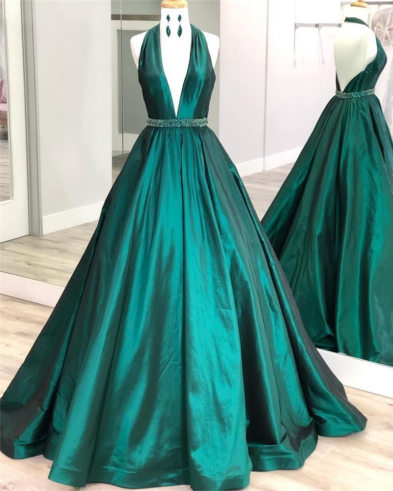 Hunter Green Satin Long   Prom     Dresses   2019 Halter Neck Elegant Beading Formal Evening   Dress   Party For Women robe de soiree