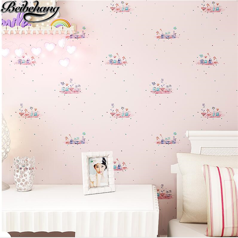 beibehang Children room wallpaper girl warm bedroom wallpaper non-woven romantic pastoral living room background wallpaper thick beibehang environmental non woven boy girl warm cartoon children s room blue sky clouds balloon wallpaper