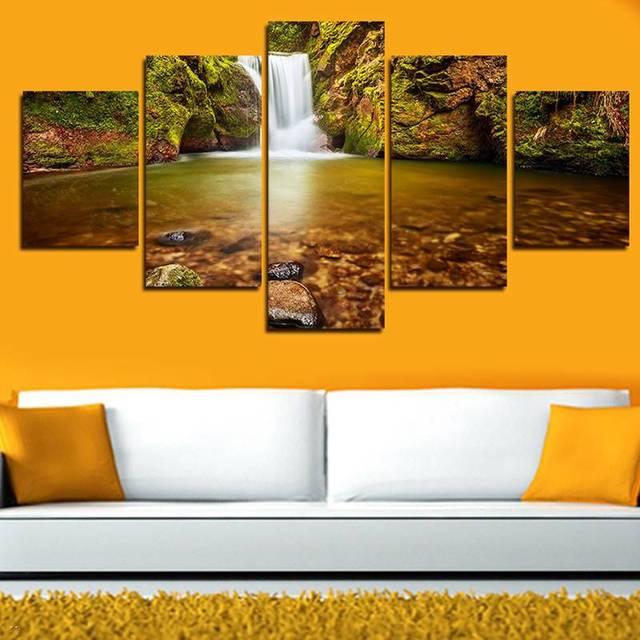 5 Panels Painting Canvas Wall Art Beautiful Waterfall Landscape Wall ...