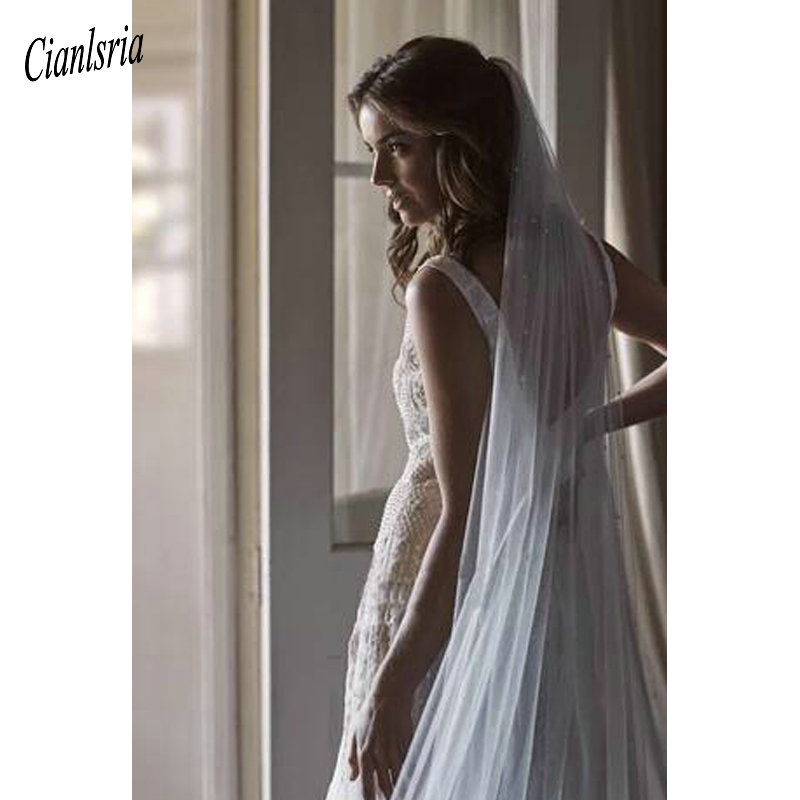 2020 Newest White/Ivory Bridal Veil With Comb One Layer Cathedral Royal Pearl Wedding Veil Veu de Noi