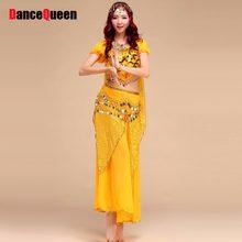 06fb695ac 2017 Egyptian Belly Dance Costume 4Pcs Top&Skirt&Waist Chain&Veil Women'S Dance  Clothing Bellydance Costume Professionals ...