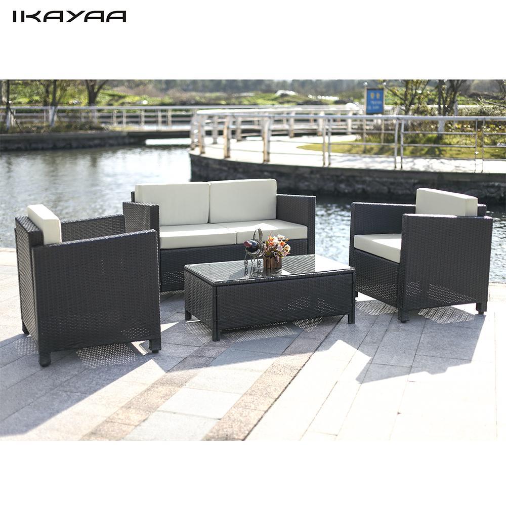 iKayaa 4PCS Cushioned Rattan Garden Furniture Set Garden ...