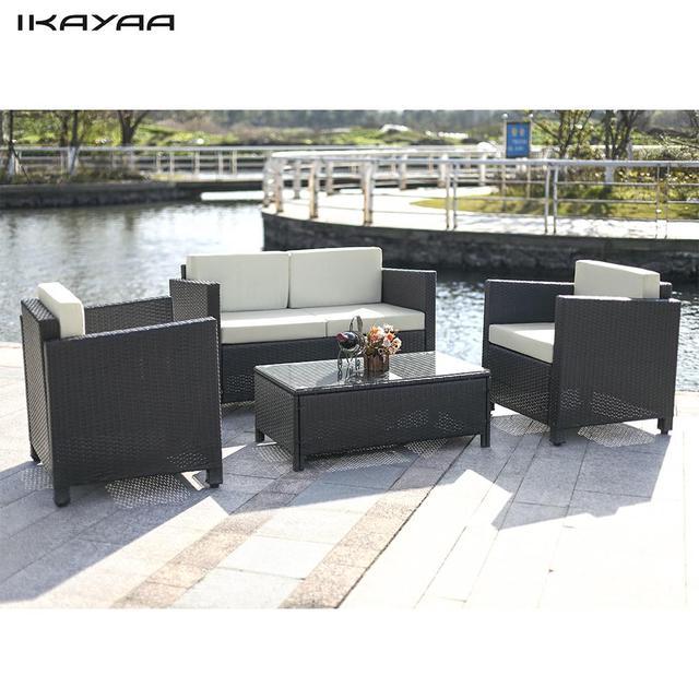 iKayaa 4PCS Cushioned Rattan Garden Furniture Set Garden Sofa Couch Set Wicker Weave Loveseat  2 Pcs Single Sofa Table FR Stock
