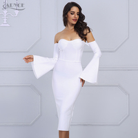 Adyce 2017 New Women Bandage Dress Elegant Long Flared Sleeves Sexy Off The Shoulder Midi Celebrity
