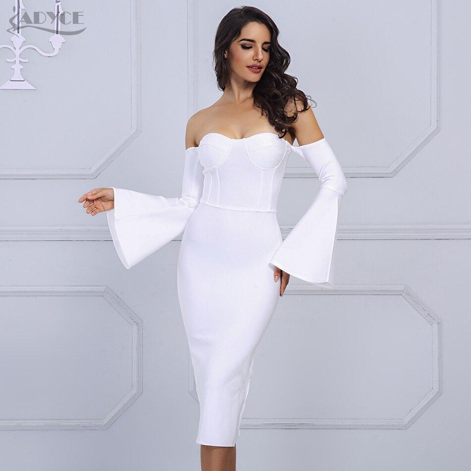 Adyce 2017 New Women Bandage Dress Elegant Long Flared Sleeves Sexy Off The Shoulder Midi Celebrity