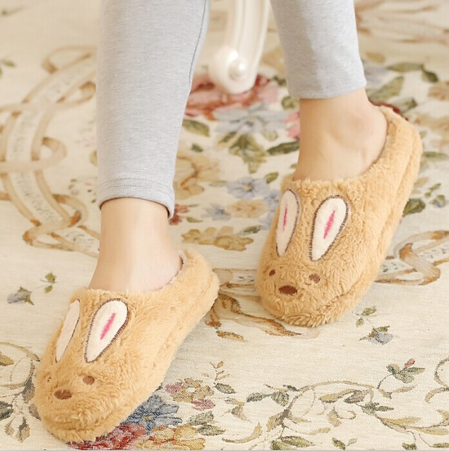 Winter Slippers Cute Rabbit Corduroy Warm House Shoes For Lovers Soft Plush Women Home Slippers Man Indoor Shoes Pantuflas qweek women home animal slippers fur indoor rabbit slippers warm ladies cute funny adult slippers female slide house shoes