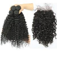 3B 3C странный вьющиеся натуральные волосы Связки с синтетическое закрытие волос натуральные волосы производства Бразилии Weave Связки с 6X6 син