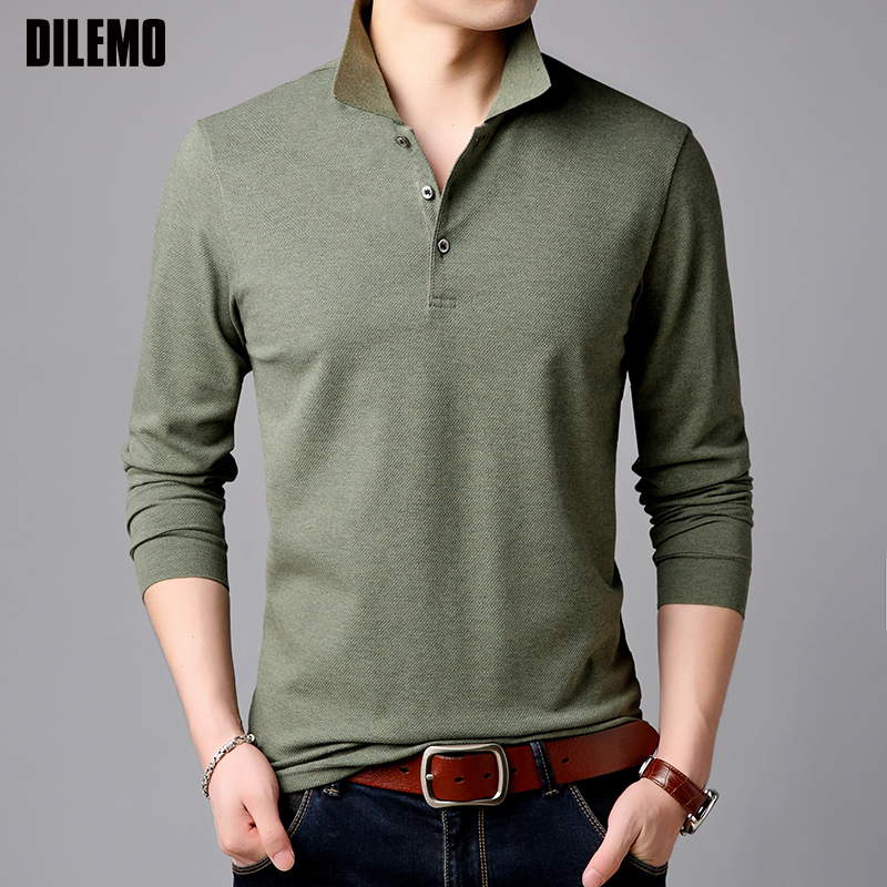 2019 Top Grade New Fashion Brands Polo Shirt Mens Solid Color Long Sleeve Slim Fit Korean Boys Poloshirt Casual Men Clothing