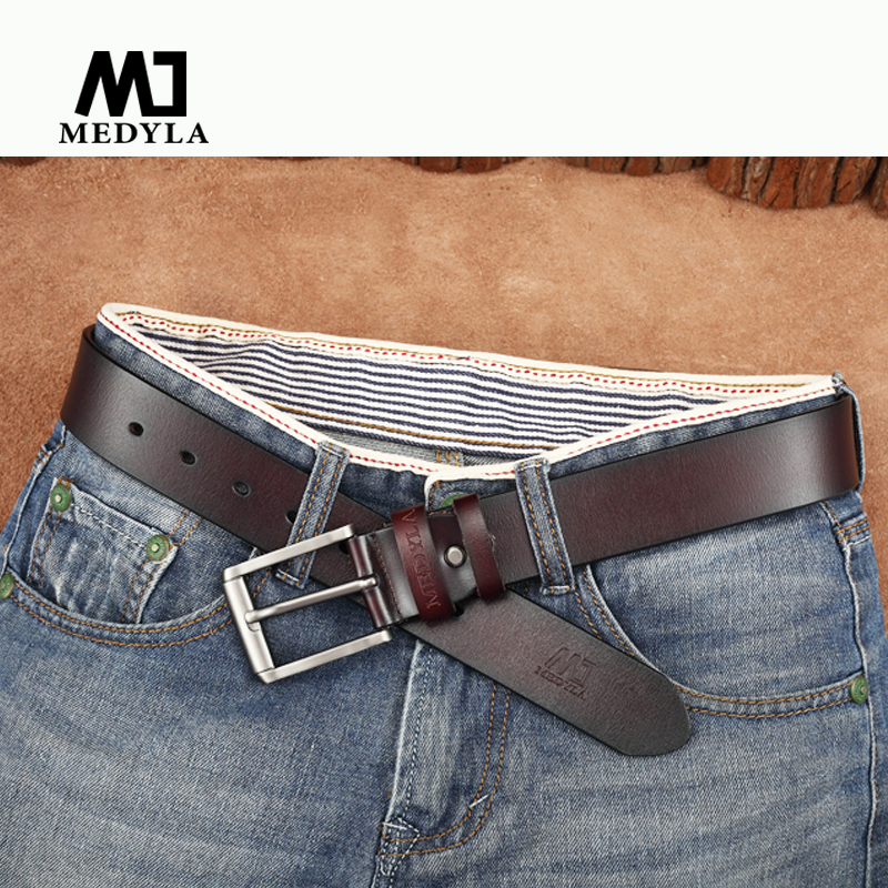 MEDYLA cow genuine leather luxury strap male   belts   for men new fashion classice vintage pin buckle men   belt   High Quality