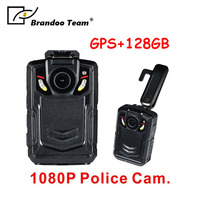 1080P Infrared Police Body Camera with GPS function Security IR Cam with 128GB Built in Memory Support Video/Audio Recording