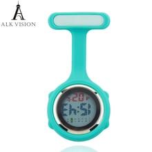 Цифровые силиконовые часы медсестры, карманные часы, часы доктора медсестры, брошь с отворотом, медицинские часы медсестры, кварцевые часы с зажимом ALK