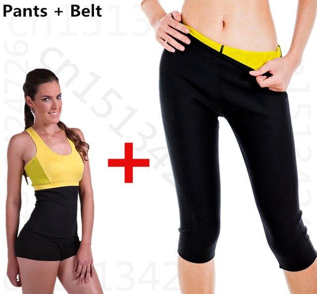 waist belt+pants.super stretch Hot Shapers Neoprene Fitness Slimming set Control Panties Leg Sauna Shaper Fit Sweat shaper Body