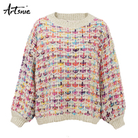 Artsnie Beige Knitted Christmas Pullovers Women Autumn 2018 O Neck Long Sleeve Casual Girls Sweaters Vintage Pull Femme Jumper