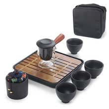 Portable Travel Chinese Kungfu Tea Set Office Pottery Teapot Cups Caddy Green Sets for 4 Person