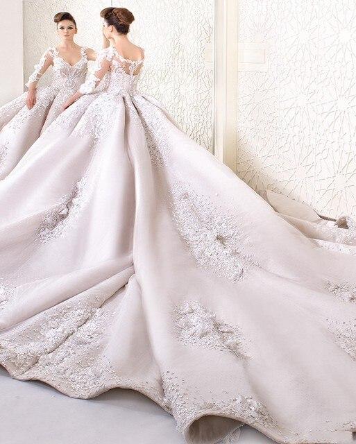 Luxus Spitze Ballkleid Brautkleid 2017 Fashion V ausschnitt Langarm ...
