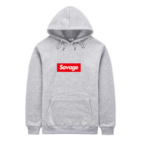 2017 100 Cotton 21 Savage Street Wear Suprem Hoodies Parody No Heart X Savage Fear Of