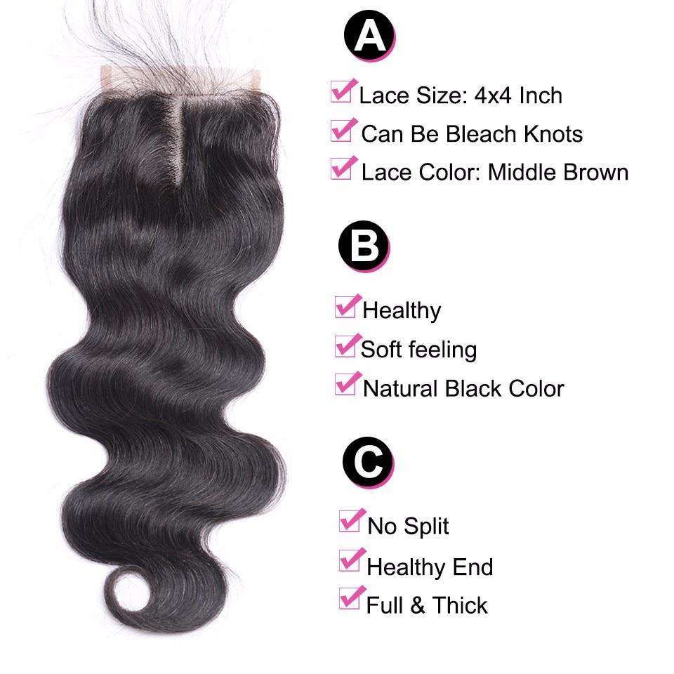 Skönhet Grace brasilianska Body Wave Hair Snörning Closure Remy - Mänskligt hår (svart) - Foto 2