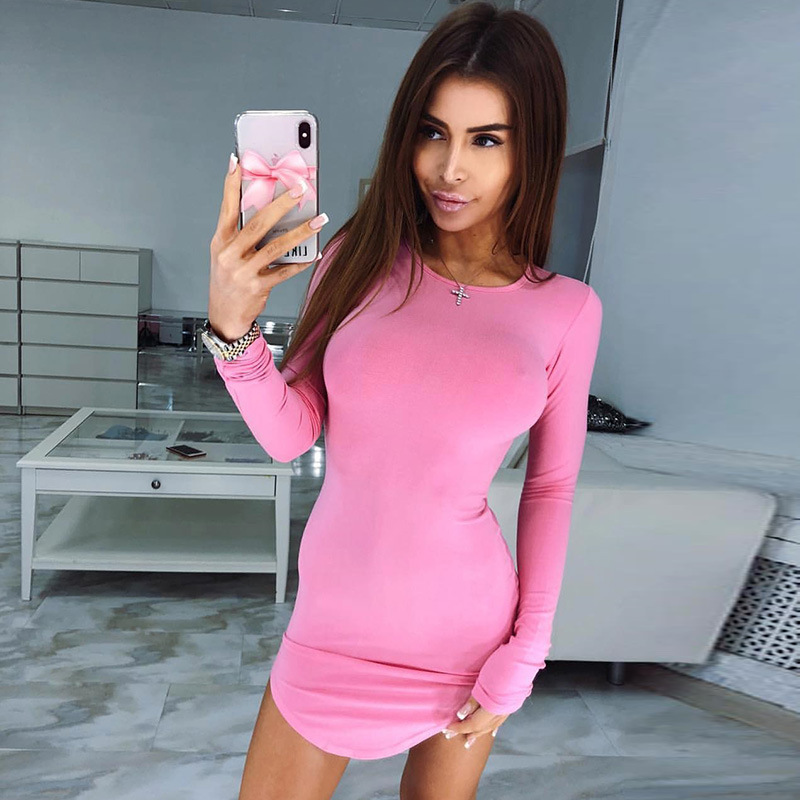 Spring Autumn New Women Sexy Fashion Dress Woman Casual Pullover Long sleeve Clothing Office Lady Party Dresses High Quality in Dresses from Women 39 s Clothing