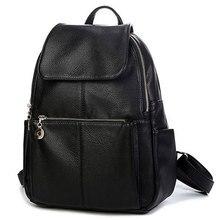 2017 diseñador de la Marca mujeres de moda mochila de Estilo Simple de LA PU de cuero Negro bolso de escuela para niñas hombro bolsa de viaje de gran capacidad