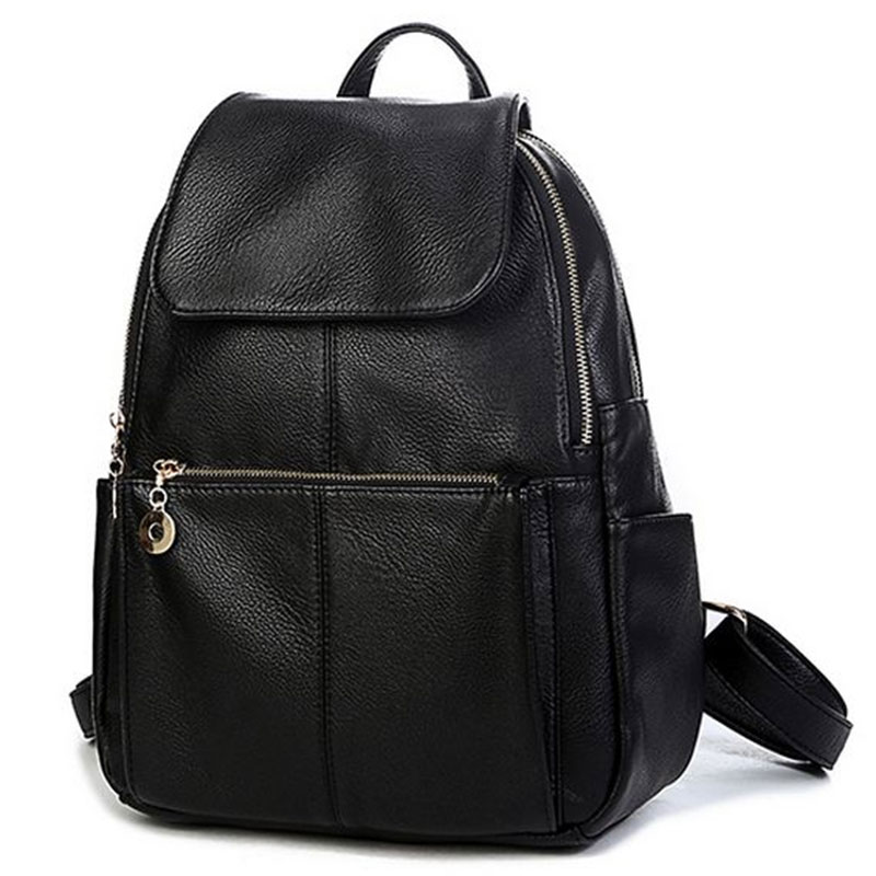 2017 Brand designer women Simple Style backpack fashion PU leather Black school bag for girls large capacity shoulder travel bag [zob] supply of new original omron omron proximity switch e2b m18ks08 wz c1 2m 5pcs lot