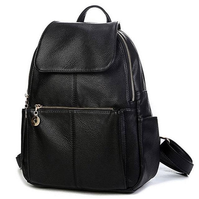 2017 Brand designer women Simple Style backpack fashion PU leather Black school bag for girls large capacity shoulder travel bag