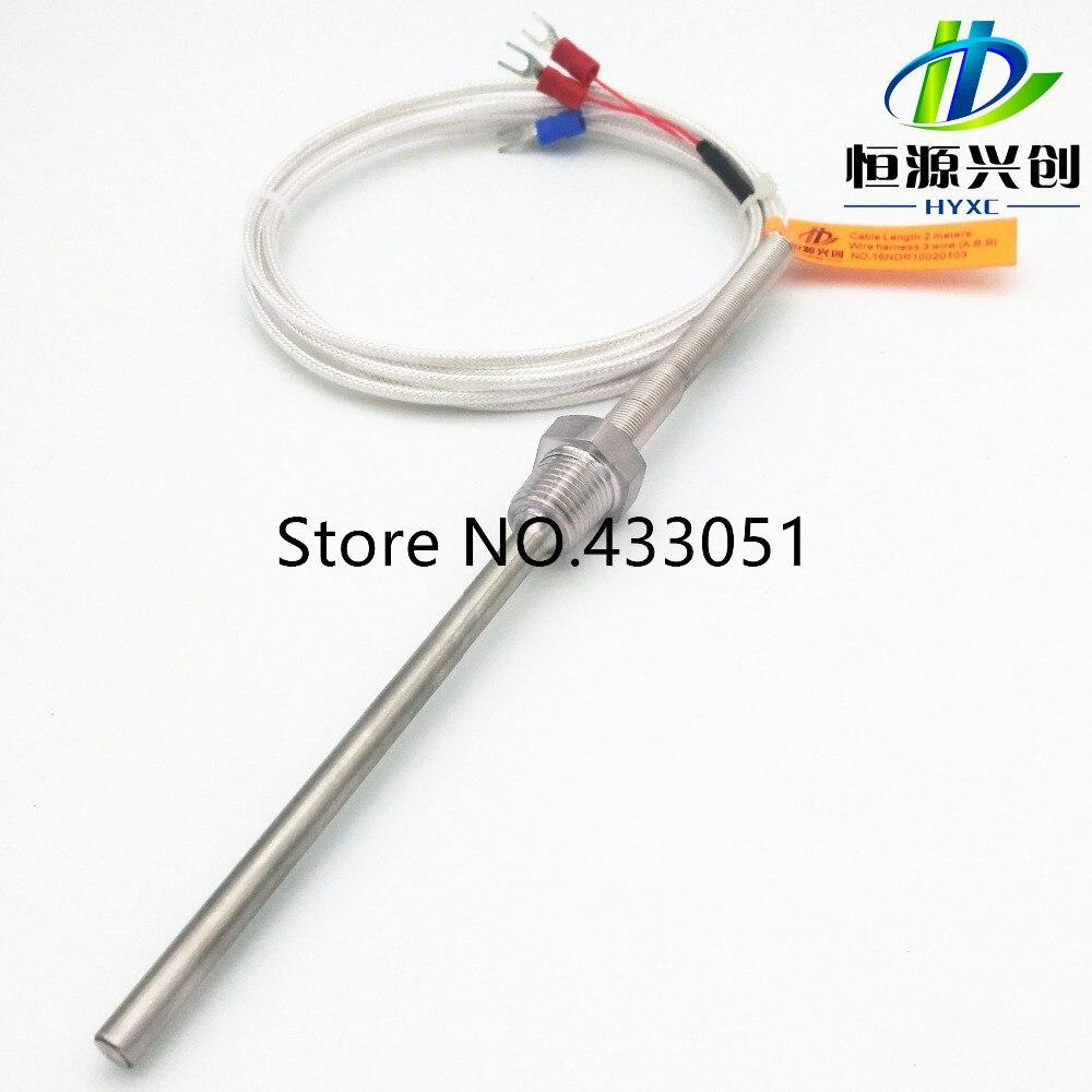 все цены на Free shipping,RTD(resistance temperature detect) Pt1000 temperature sensor probe PT 1/4'' Thread L 250mm 3Wire онлайн