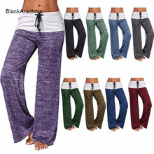 Purchase BlackArachnia Women Plus Size Yoga Leggings Wide Leg Loose Flared Pants Fashion Fitness Dance Leggings Stretch Bandage Jeggings deliver