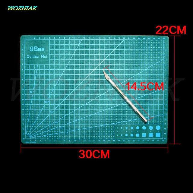Wozniak A4 Cutting Mat 30cm x 22cm Manual DIY Tool Cutting Board Double-sided Available Self-healing Cutting Repair Pad + knife