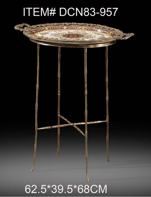 Antique Porcelain Mosaic Brass Flower Decorative End Table Luxury Art Side  Table