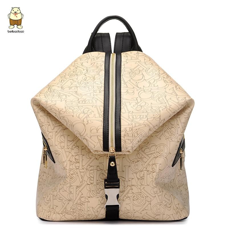 ФОТО Women Leather Backpacks High Capacity Autumn School Students Casual Fashion Letter Cartooon Bags