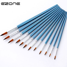 EZONE 12 PCS Blue Paint Brushes Wooden Handel Nylon Hair Brush Different Size For Watercolor Oil Gouache Acrylic Painting Supply