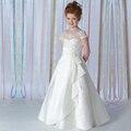 White satin jewel декольте-line лук узел длина пола винтаж дети первое причастие платья для девочек