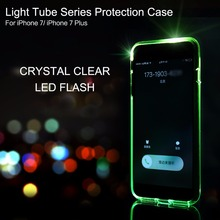 ROCK Semi-Transparent Crystal Clear Tube Series Protection Case LED Flash Cover for iphone 7 case for iphone 7 plus Shell