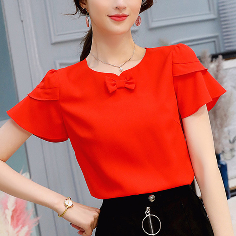 BIBOYAMALL Women Blouse Summer Chiffon Shirt Female O-Neck Bow Tie Blouse Women Short Sl ...