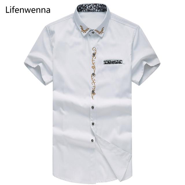 7XL 2017 Nova Marca de Moda Mens Camisa Ocasional do Verão Bordado Curto manga da Camisa Dos Homens de Alta Qualidade Slim Fit Camisa de Vestido Dos Homens Dos Homens
