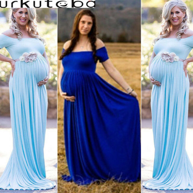 US Women Lace Maternity Dress Maxi Fancy Long Gown Pregnancy Photography Props Y