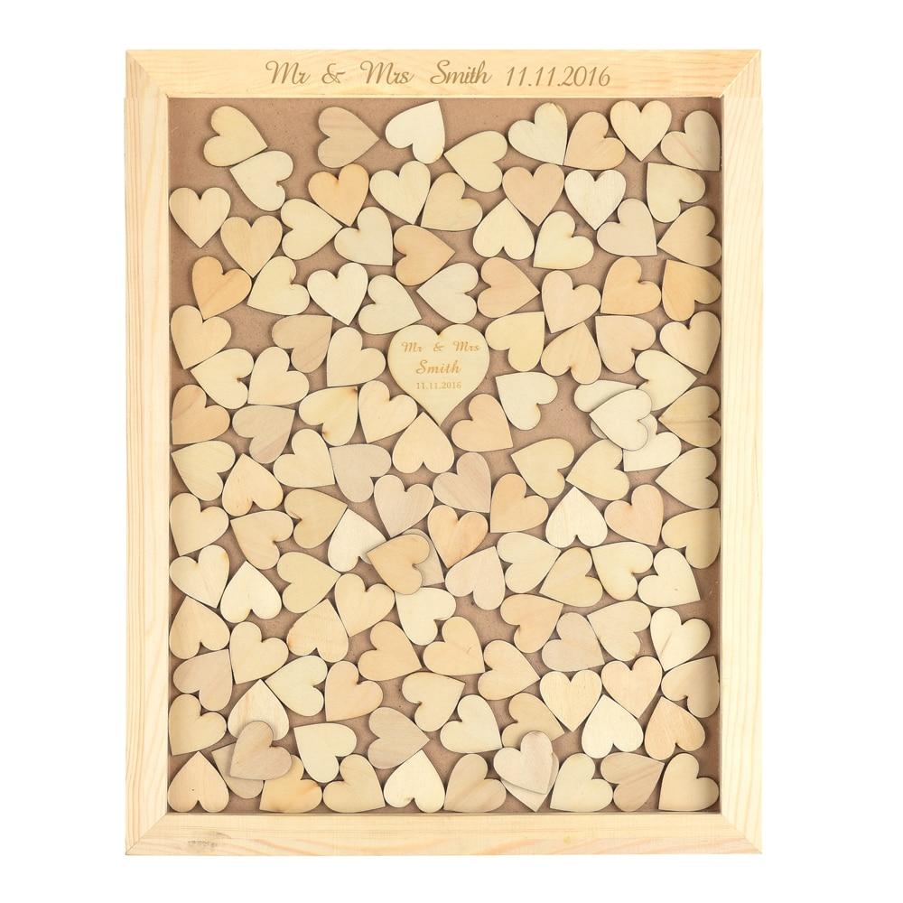 rustic drop top wooden wedding guest book frame 130 pcs wood heartschina - Wooden Picture Frames