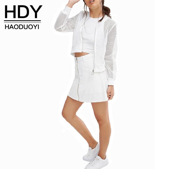 Hdy haoduoyi sólido blanco mujeres calle chaqueta informal cremallera outwears otoño o cuello básica femenina natural salir bomber jacket