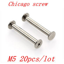 20pcs/lot chicago screw m5 length 6mm -30mm Nickel plated Account Books Screw,Books Butt Screw, Photo album screw(China)