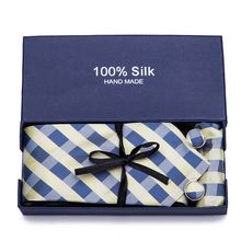 Gift Box Multicolor Brown Gold Yellow Navy Blue Pink White Beige Plaid Mens Ties Necktie 100% Silk Tie Set Hanky Cufflinks set