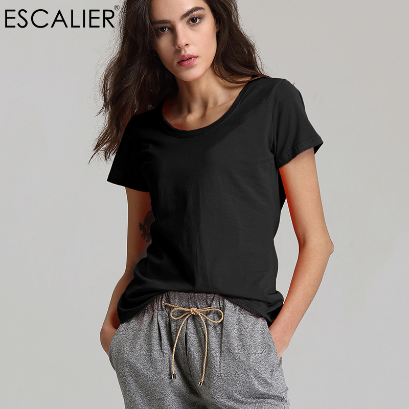 Escalier Summer 2018 Fashion Kvinder O-Neck T-Shirts Bomuld Kvinder Toppe Sexy Sexy Solid Farve Comfortable Broadcloth Shirts